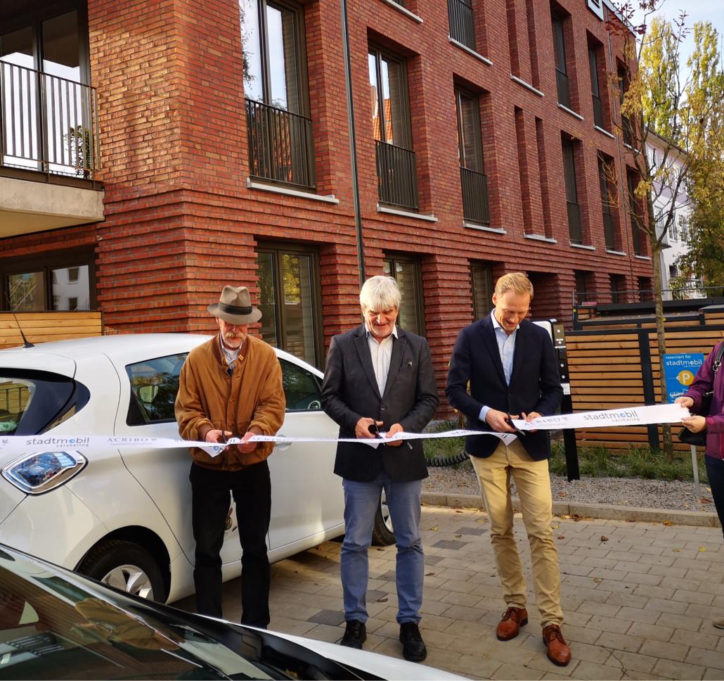 Eröffnung des Elektro CarSharing Stellplatzes in der Baumstraße, Südstadt