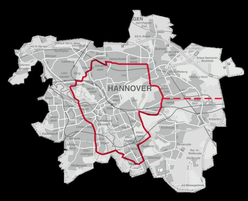 stadtflitzer Bediengebiet in Hannover