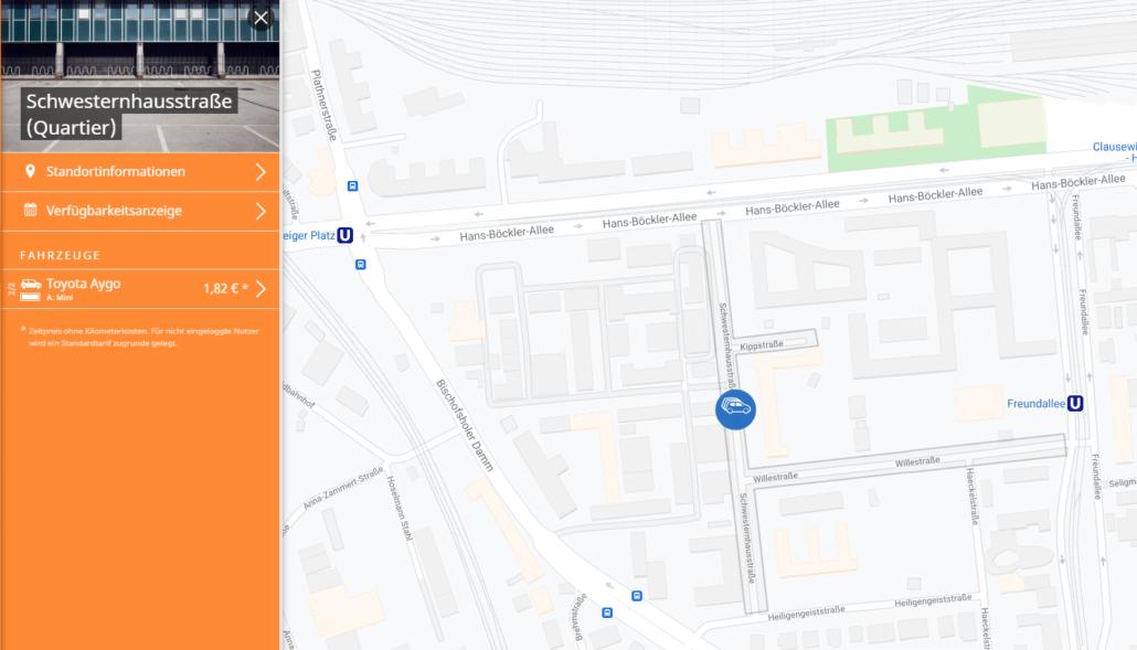 Quartiers-CarSharing bei stadtmobil